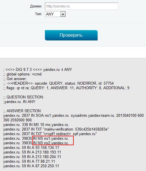 проверка dns домена