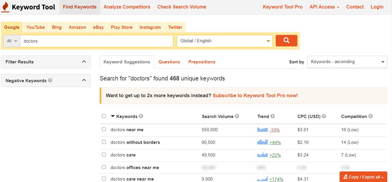 сборк ключей на keywordtool.io